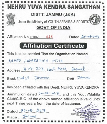 Kempo India, recognized by NSA